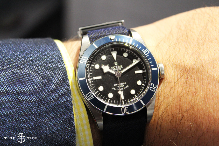 Tudor Black Bay Blue on-wrist at Baselworld 2014