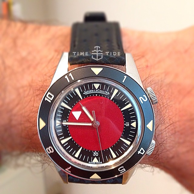 WATCH STORY: NAME: Marc Newson WATCH: Custom-made Jaeger-LeCoultre Memovox Tribute to Deep Sea, Europe Watch STORY: I designed this watch with my friend Jony Ive for Bono, who was doing a red themed charity auction. The Memovox already exists of course, we just added the red. There are three in existence. It was listed at $10-15,000 but it sold for $300,000 or something. (it sold for $365,000) ️ timeandtidewatches.com