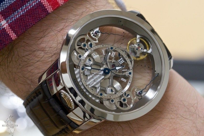 Arnold & Son Time Pyramid on the (not even very) hairy wrist - image via thehorophile.com