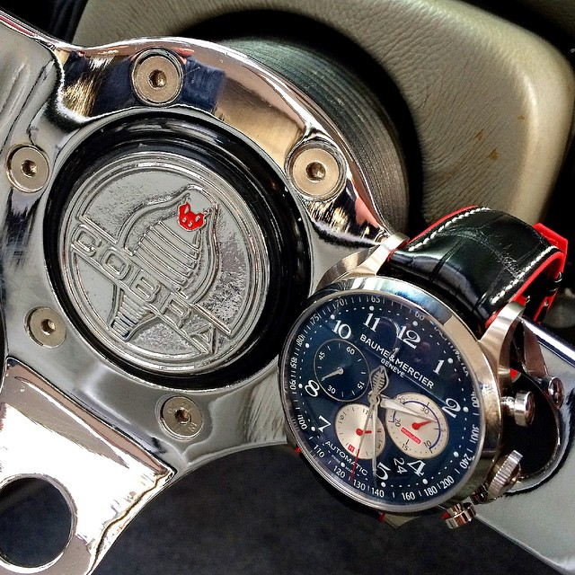 The @baumeetmercier Capeland Shelby Cobra in its natural environment - on the steering wheel of a replica car, worth well over 120k, or roughly 15 of these ltd (to 1965 pieces) watches. ️
