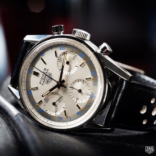 Well hello sailor! Co-branded Fisher Carrera from 1964, photographed still box fresh at the @tagheuer museum. Shall we start lobbying to bring this beauty back in time for Basel 2016? Bloody gorgeous. ️