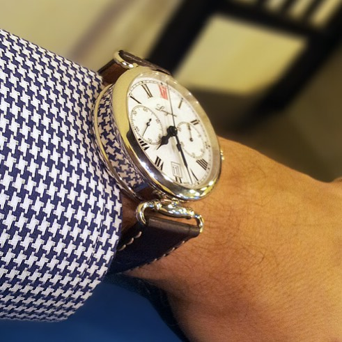 That big ol Longines 180th Anniversary monopusher chronograph, riding as high all get out off the cuff. Vintage Viagra. Whose heritage game is feeling strong today? ️ pic by watchsetter.com