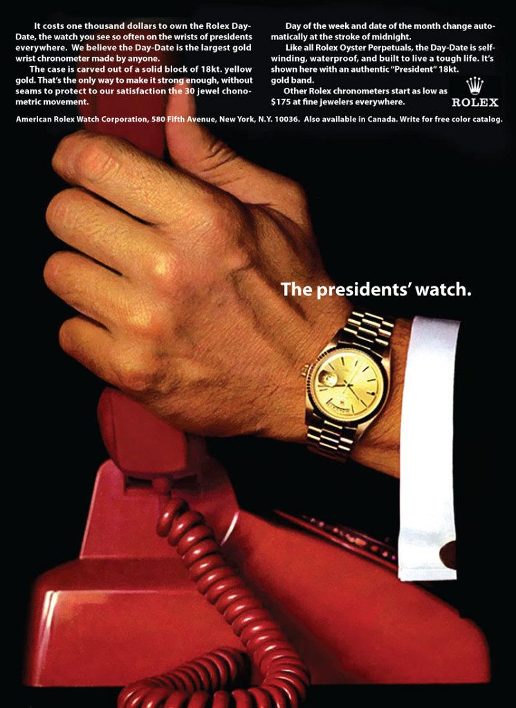 Rolex advertisement from 1966 via rolexblog.blogspot.com.au