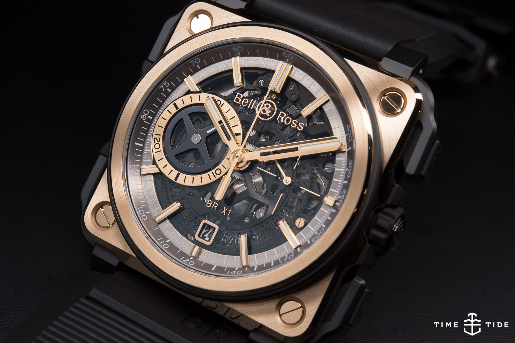 bell ross br x1 skeleton chronograph rose gold ceramic hands on review. Black Bedroom Furniture Sets. Home Design Ideas