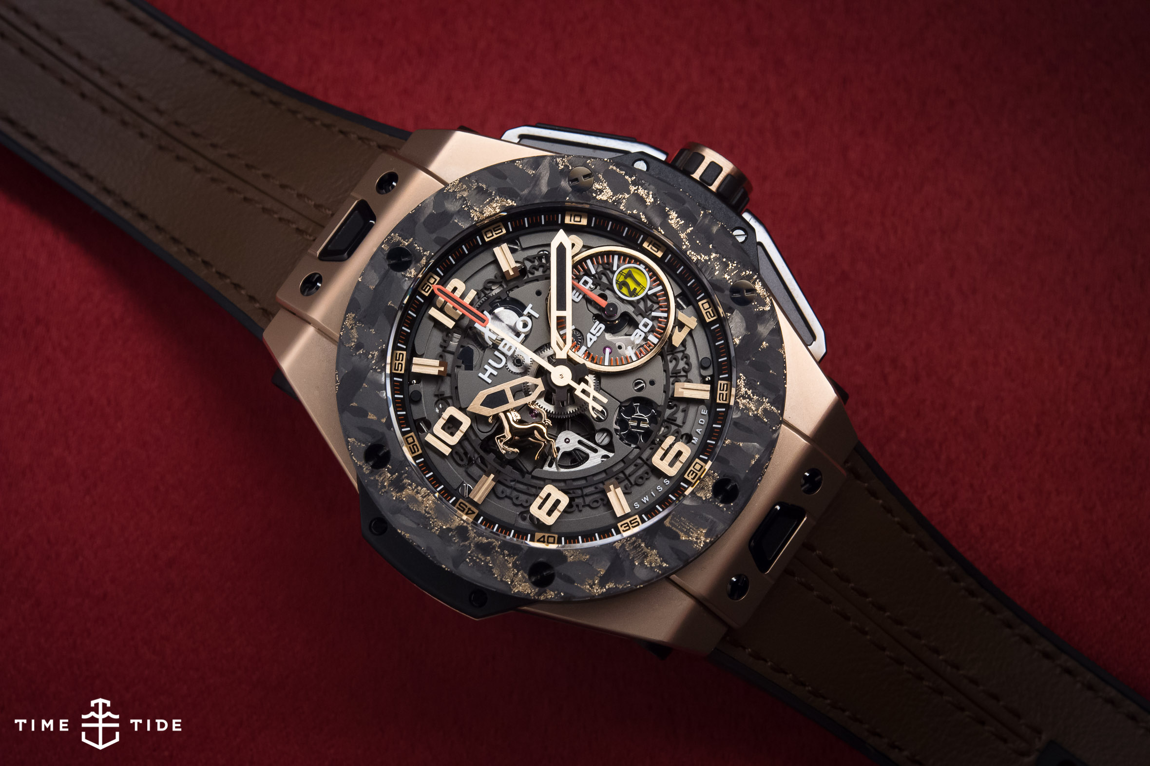 hublot big bang ferrari king gold carbon  u2013 hands