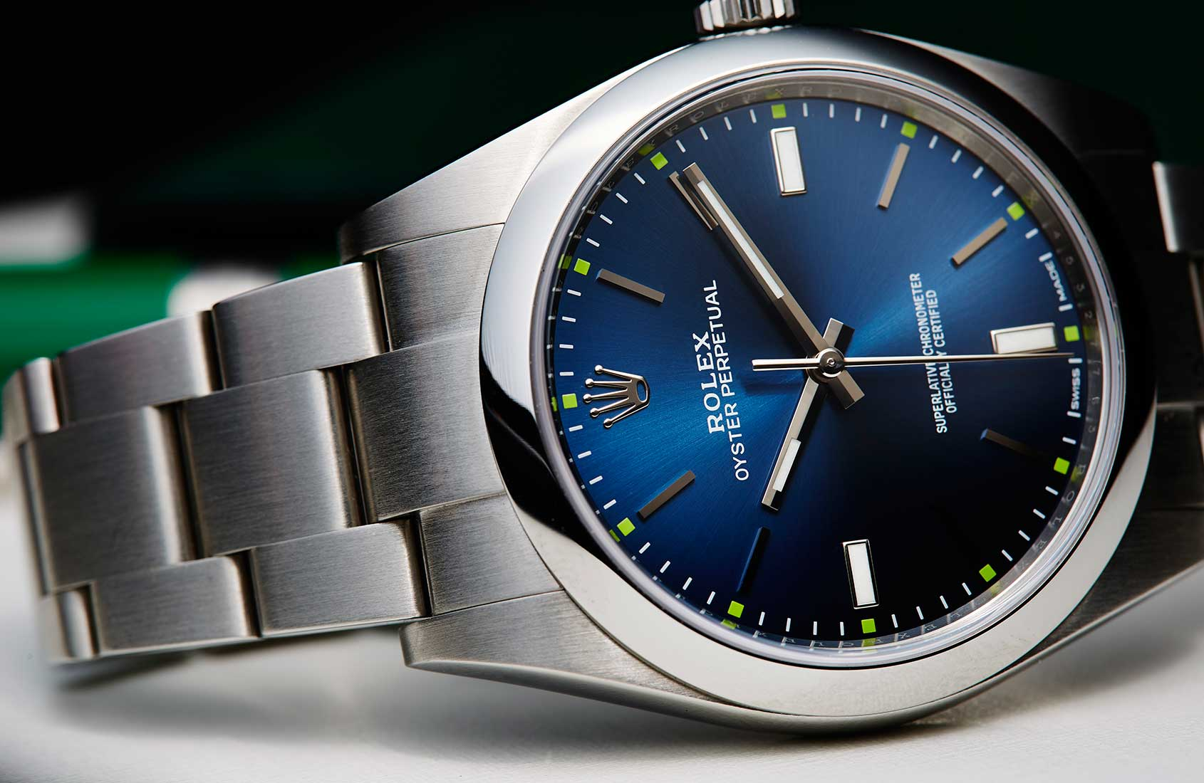 Rolex Oyster Perpetual 39 in blue, grey and grape