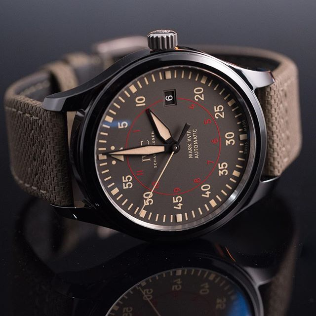 Our pick of @iwcwatches new Mark XVIII Pilots is this polished black ceramic Top Gun with its vintage inspired dial and a new embossed calfskin strap. The desert-ready colourway looks the business too. Australian RRP will be around $8250 ️
