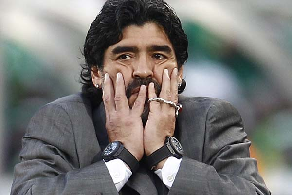 Argentina's coach Diego Maradona reacts during the game.