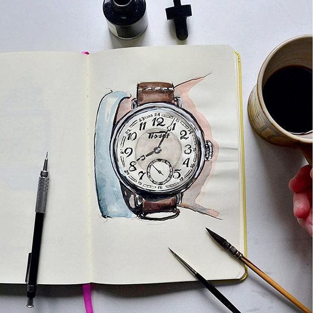 LIVE VIDEO REVIEW UP NOW: Our Instagram shot of the new Tissot Heritage 1936 inspired our master artist friend @Sunflowerman to sketch a watercolour portrait. What a beauty! He writes on his post: Sketching some of my favorites from Baselworld 2016. I drew inspiration from the guys at @timetidewatches. If you are looking for great inspiration from Baselworld but can't get there yourself then please follow @timetidewatches, you won't regret it. Here's the @tissot_official Heritage 1936 – 45mm steel case and manually wound movement in a pocket watch style case. 900 CHF ex VAT, limited to 3000 pieces. I fell in love with Tissot during my first foray into watches with the Project. ️