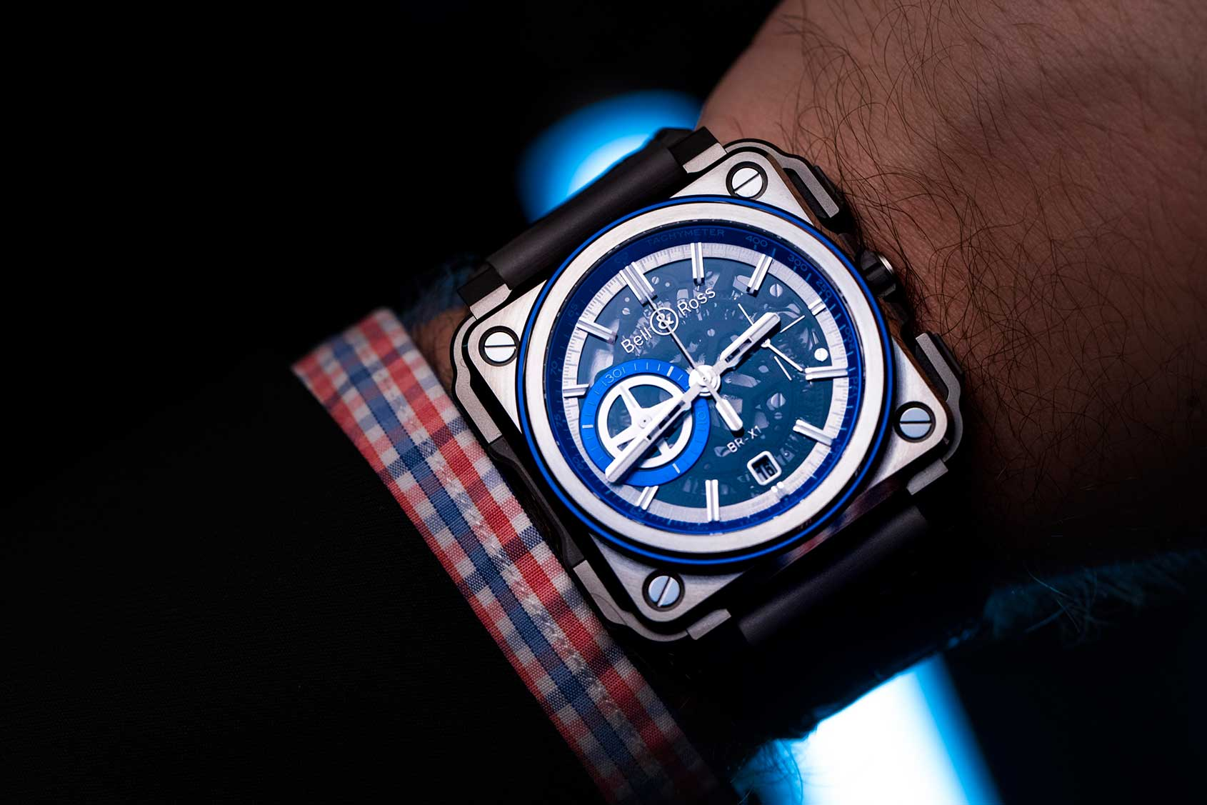 hands on the bell ross br x1 skeleton chronograph hyperstellar is kind of blue time and. Black Bedroom Furniture Sets. Home Design Ideas