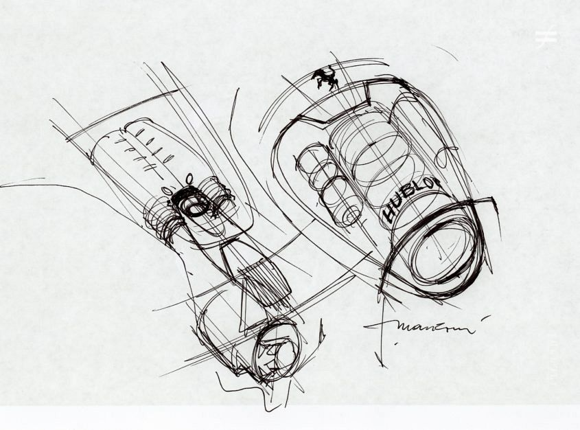 "One of Manzoni's sketches from the planning stage of the Hublot LaFerrari MP-05. ""This was done during a brainstorm with the Hublot and Ferrari design team, to show the relationship between the engine and the watch."""