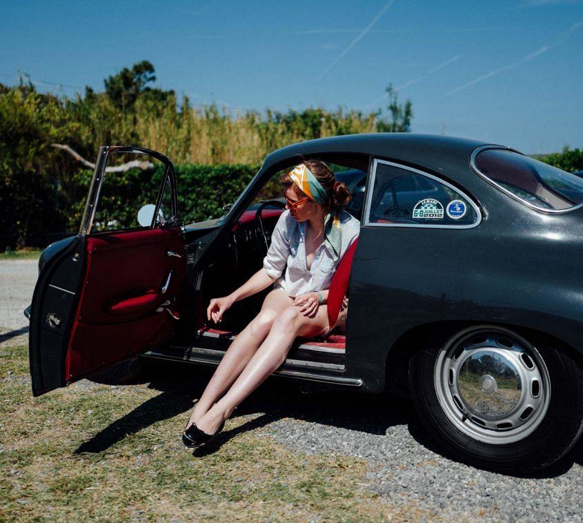 Florence Walker, Petrolicious.com contributor, in a 1960s Porsche