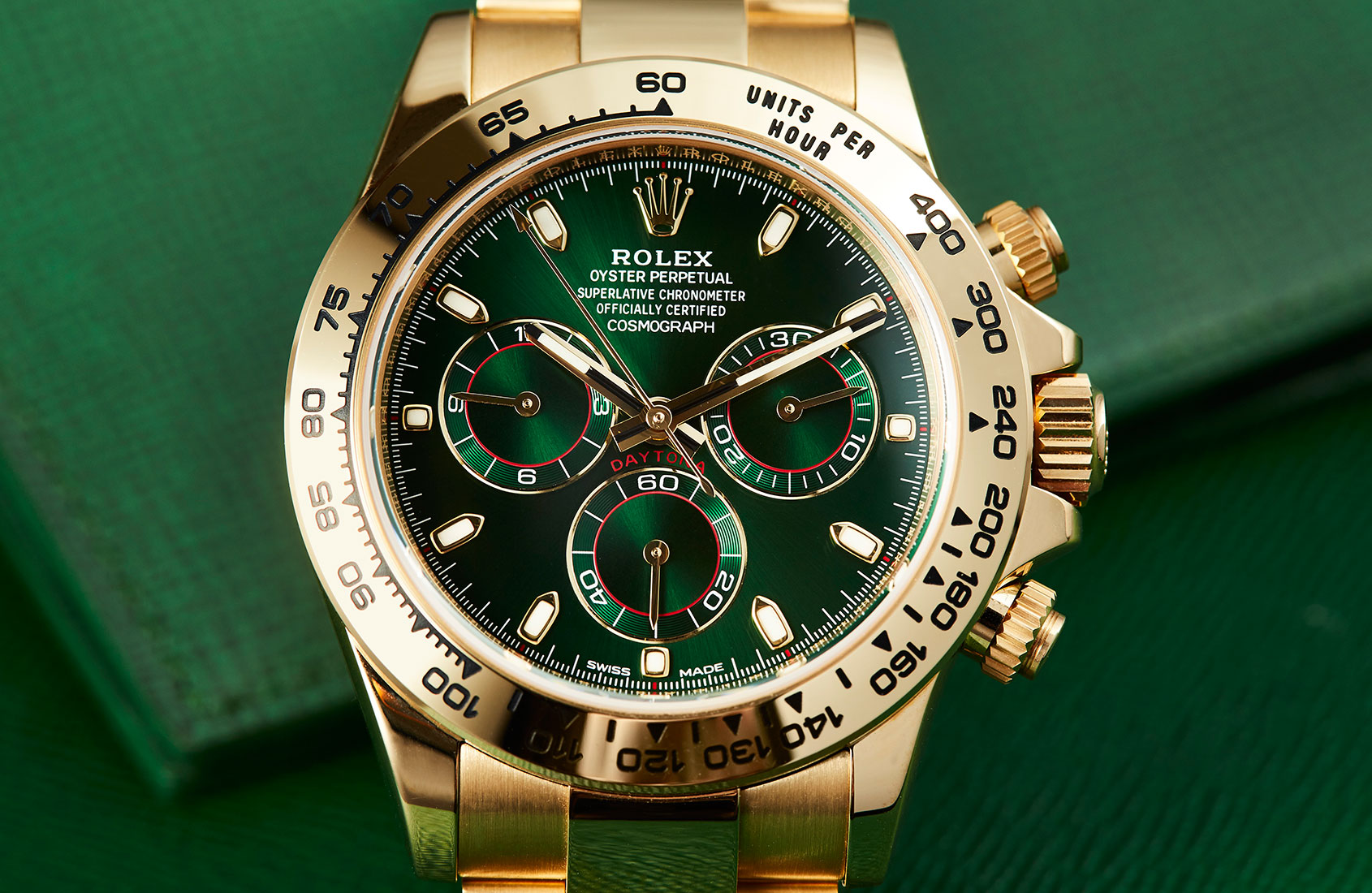 Rolex Daytona Yellow Gold Green Dial Ref 116508