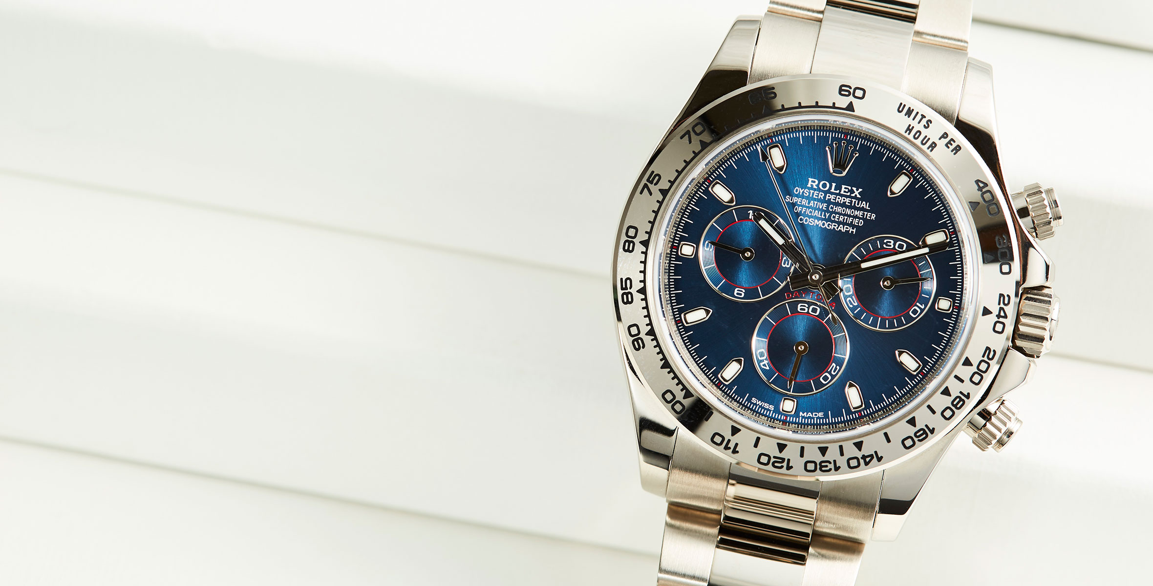 Rolex Daytona In White Gold With Blue Dial Ref 116509