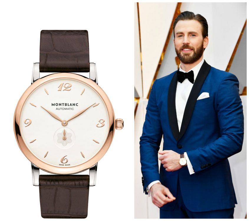 Chris Evans hits the Oscars red carpet with a Montblanc on his wrist. (Image: http://chris-evans.net)