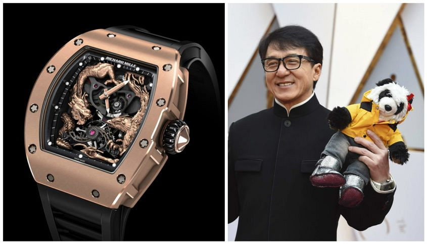 Jackie Chan (accompanied by unnamed friend) wearing his white gold Richard Mille. (Image: newindianexpress.com)