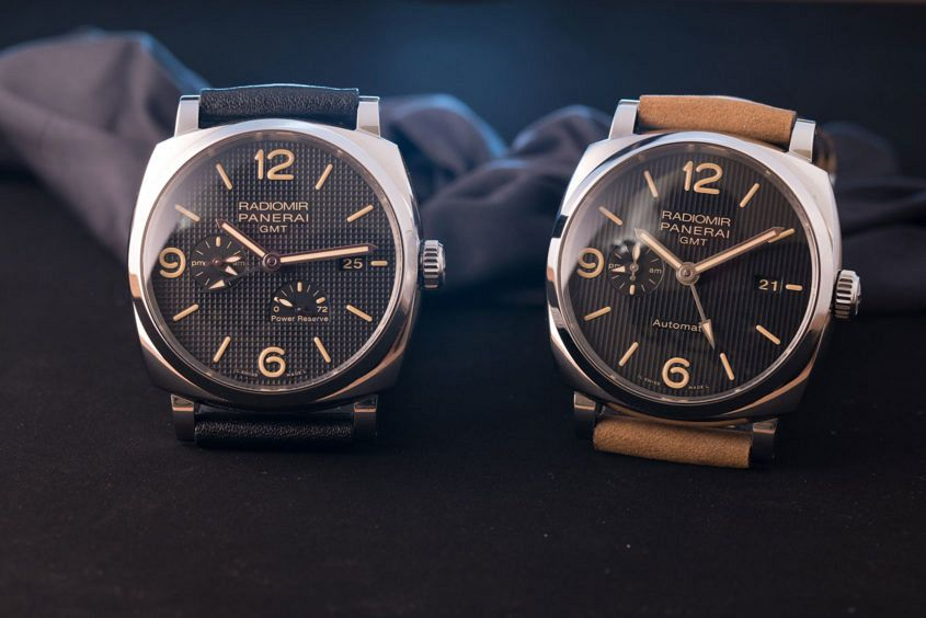 Panerai Radiomir 1940 GMT PAM 628 with hobnail dial and PAM 657 with vertical stripe