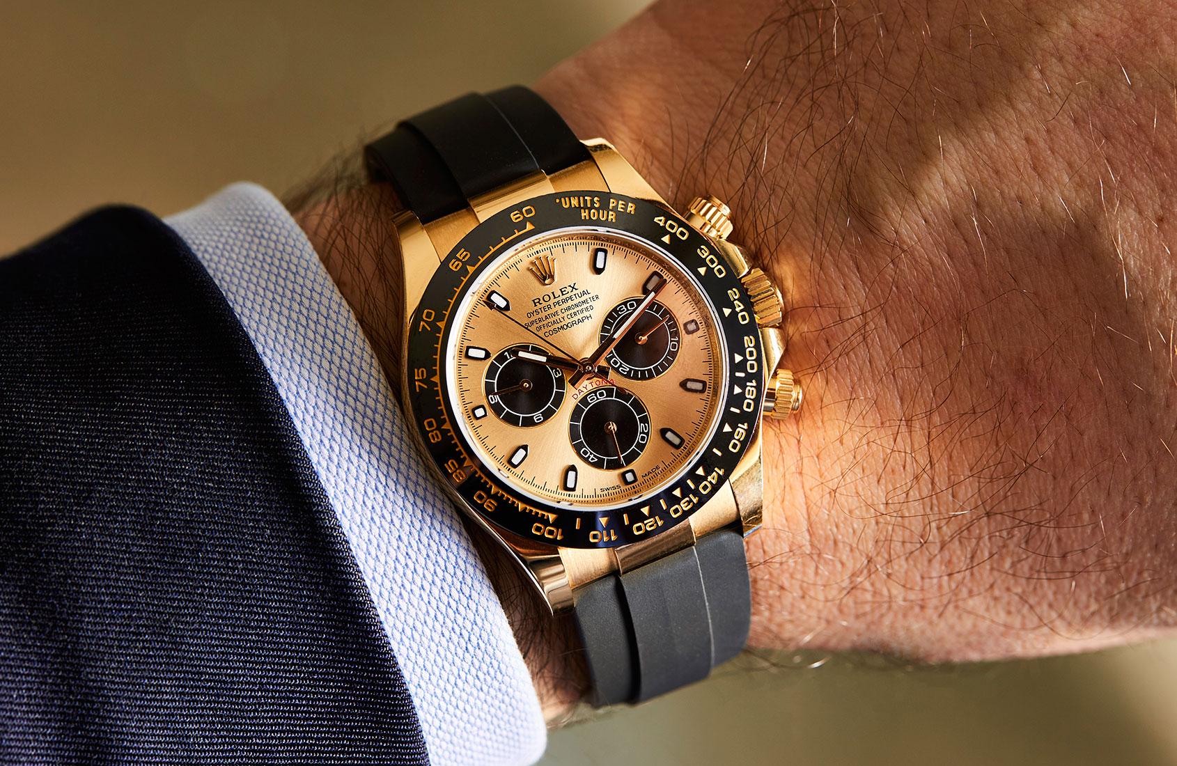 Gold Rolex Daytona On Wrist