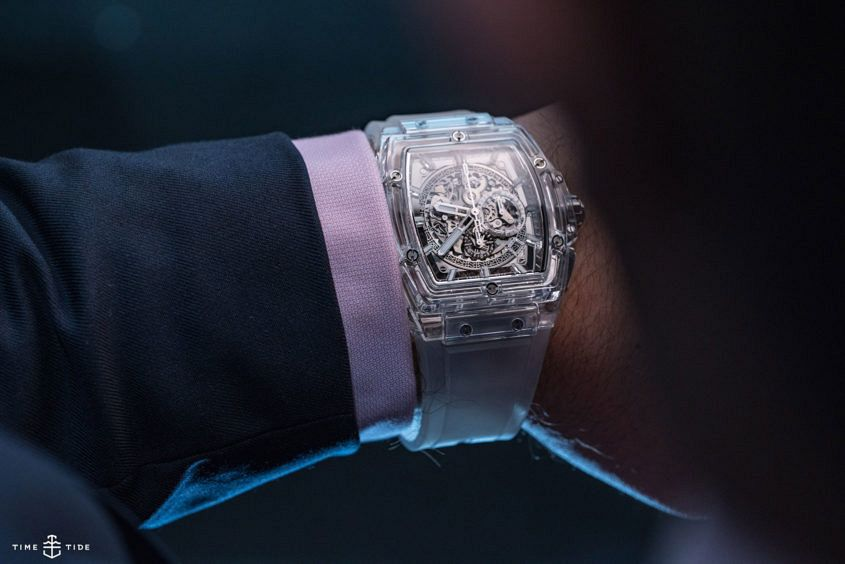 The Hublot Spirit of Big Bang 45mm Sapphire on the wrist.