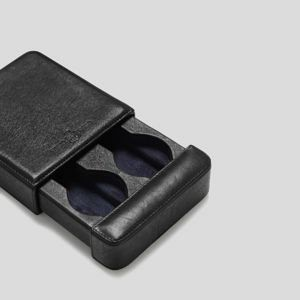 Black leather two watch slider box storage