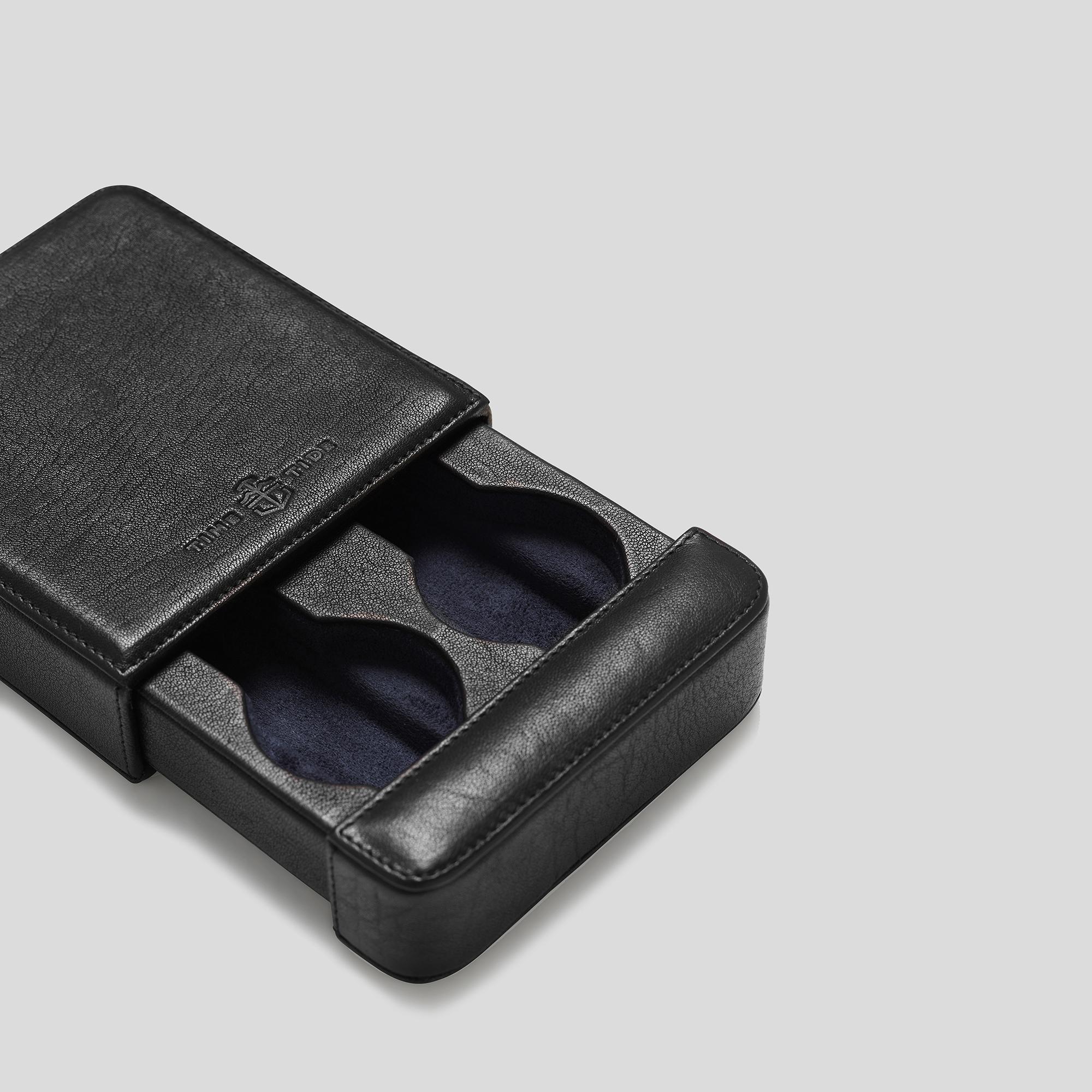 Black Leather 2 Watch Slider Box