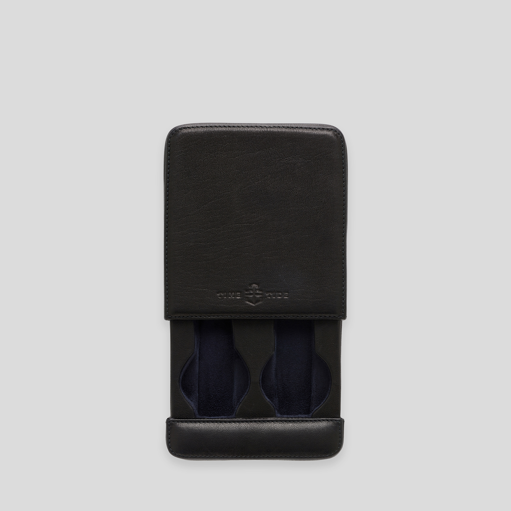 Black leather two watch slider box storage