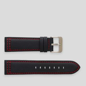 Black nylon sail cloth watch strap with red stitch