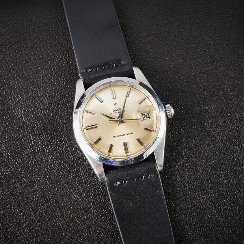 Vintage Tudor Oyster Date black leather strap