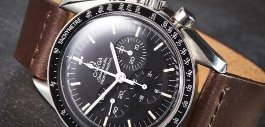 Brown cordovan leather watch strap, Omega Speedmaster