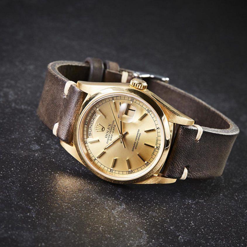 Rolex Day Date Dark brown vintage leather strap
