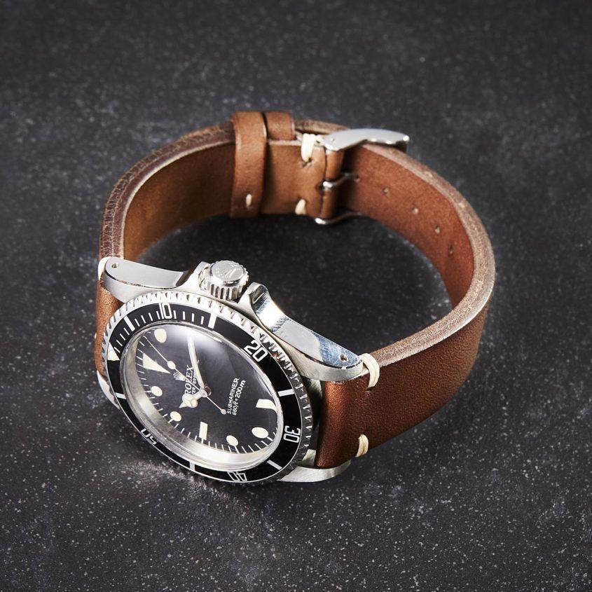 Vintage Rolex Submariner 5513 brown leather strap