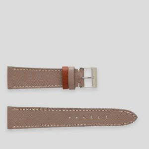 Grey elegant leather watch strap with white stitches.