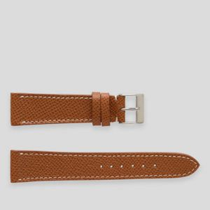 Light brown elegant leather watch strap white stitches