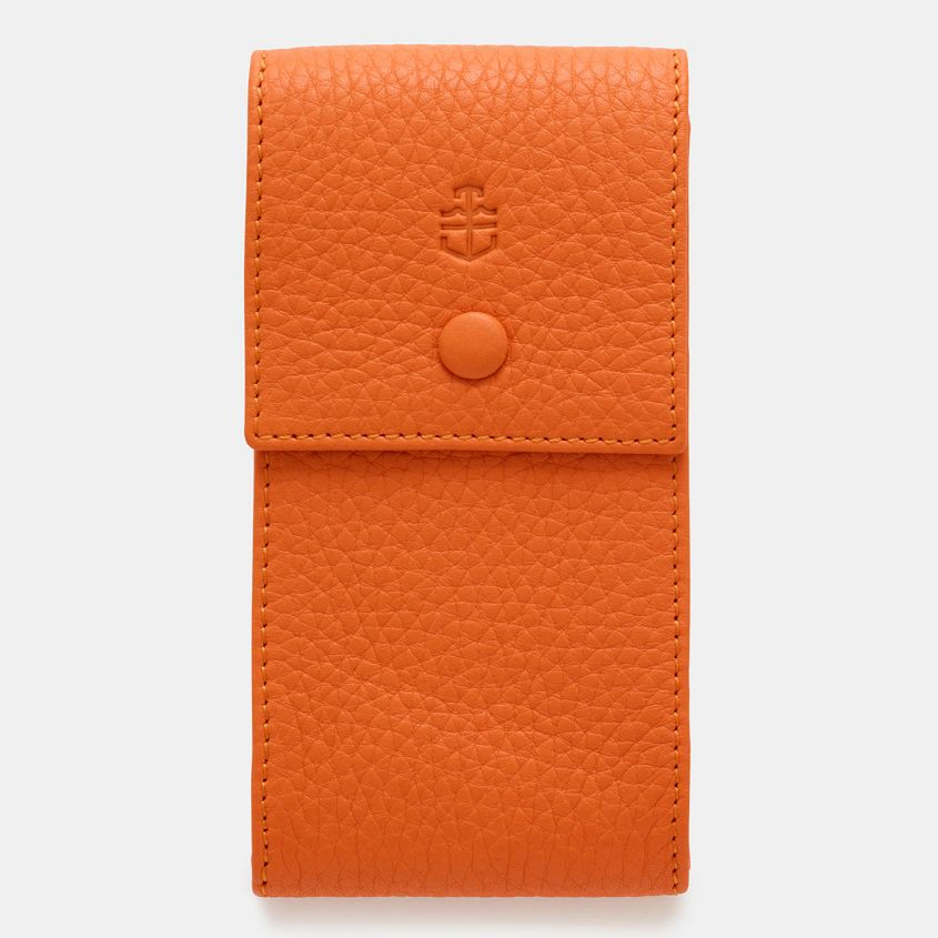 Orange-Elegant-Leather-Watch-Pouch-Front
