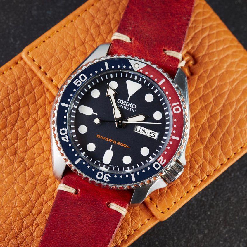 Seiko Automatic Diver's SKX009, red leather strap