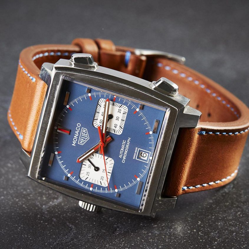 Time+Tide brown leather watch strap, blue stitch