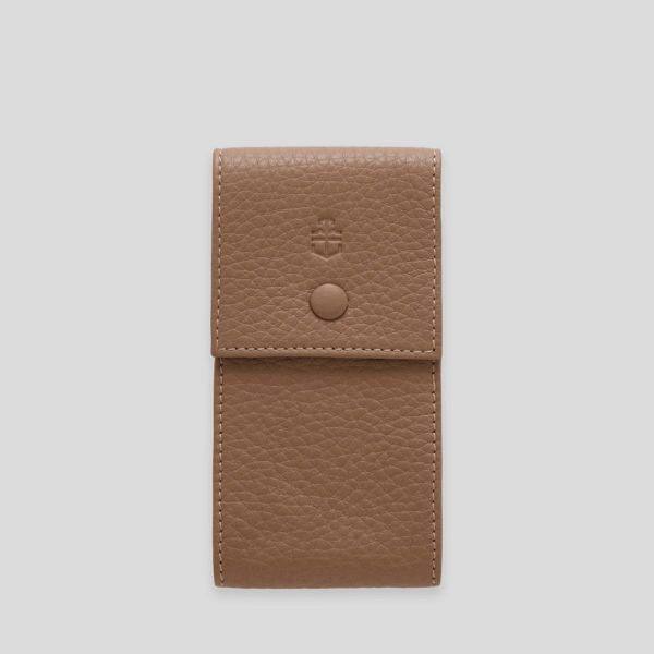 Taupe elegant leather watch pouch