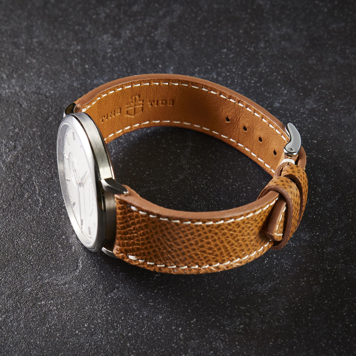 9c5e5507d Elegant Leather Watch Strap – Light Brown Leather with White Stitching