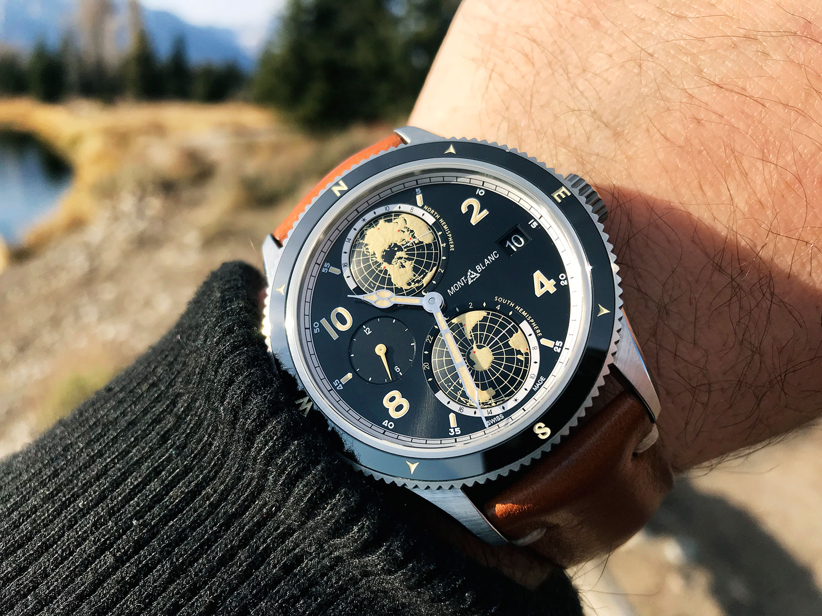 """ea676e509e1 The 1858 Geosphere offers what Montblanc say is a """"new worldtime  complication"""", which adds some geographic representation and day/night  indicator to a dual ..."""