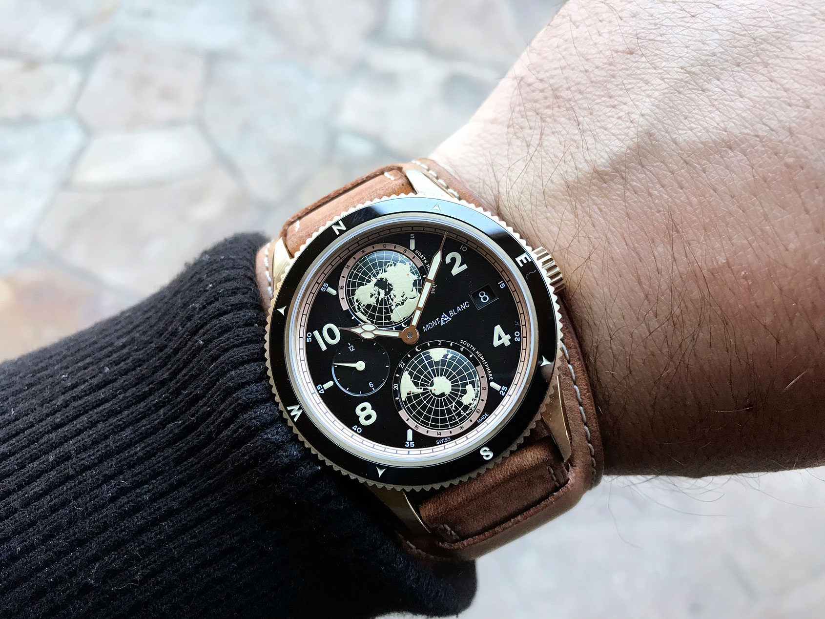 2d0f0a0cd78 Montblanc 1858 Geospheres bronze with black dial. This limited edition ...