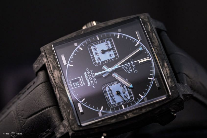 hands on the tag heuer monaco bamford time and tide watches
