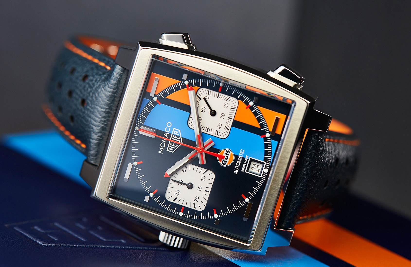 af8c5326fc9 Bright plus bold makes the TAG Heuer Monaco Gulf 2018 Special Edition a  very fun option
