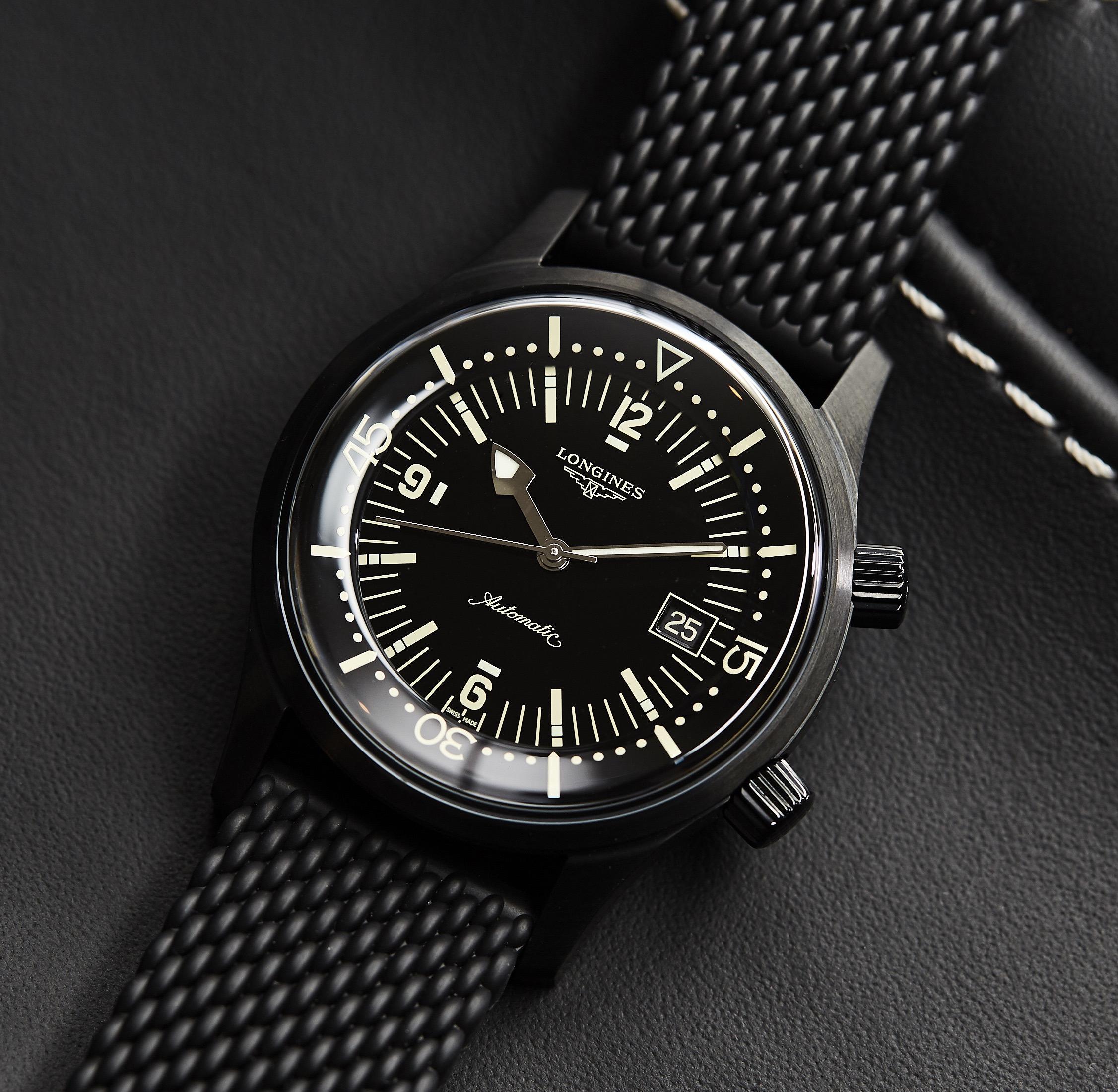 online store 456ed 1c0af Longines Legend Diver Black L3.774.2.50.9