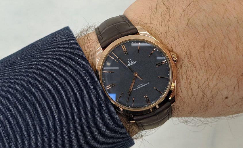 Omega De Ville Trésor 40mm Sedna gold with grey enamel dial.