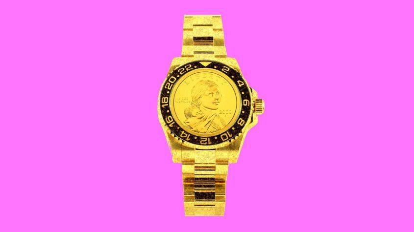 Photoshopped image of a watch with a coin as the dial.