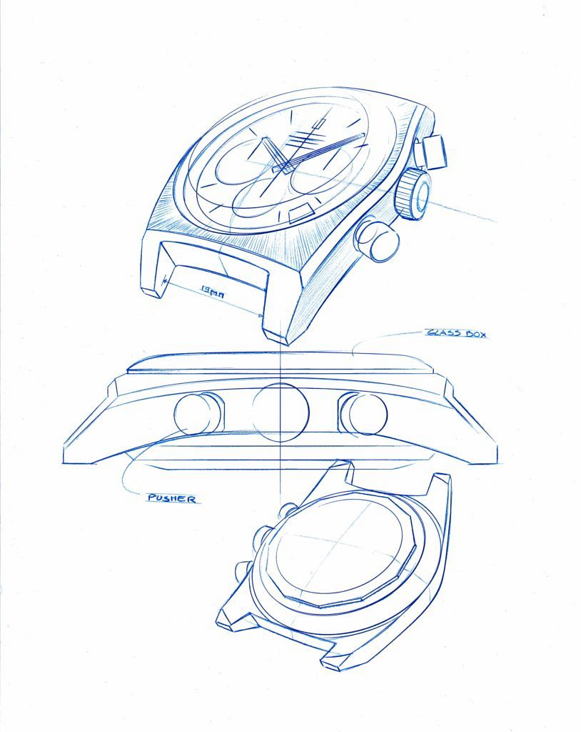 Rough drawings for the new Zenith El Primero A384 Revival.