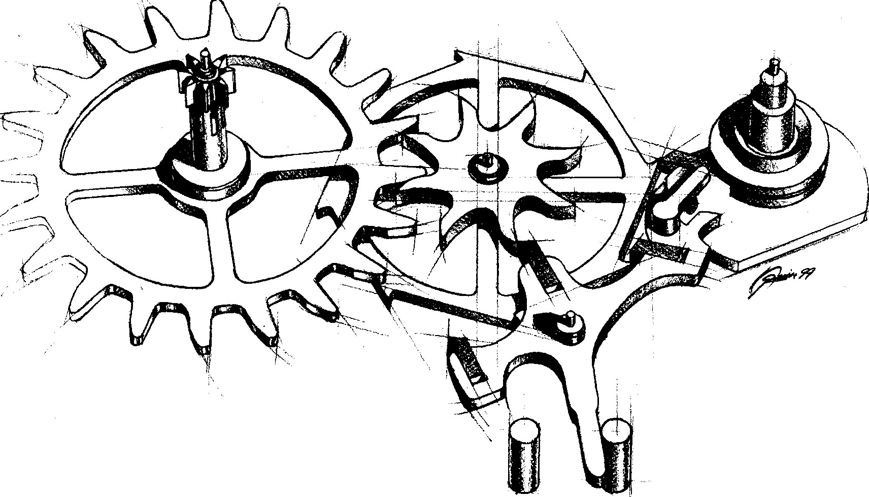 Sketch of George Daniels' co-axial escapement.