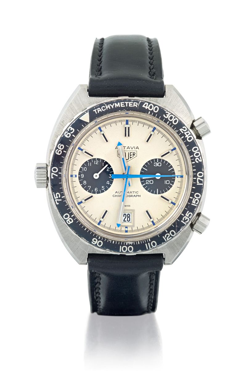 HEUER AUTAVIA REF 1163 A STAINLESS STEEL AUTOMATIC CHRONOGRAPH WRISTWATCH REF 1163 'JO SIFFERT', CIRCA 1970 - Sotheby's Australia Important Jewels Auction
