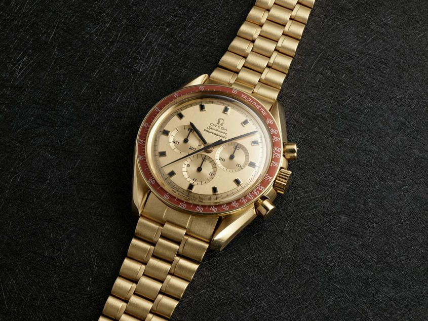 1969 – Omega Speedmaster ref. BA145.022 — the gold Speedmaster