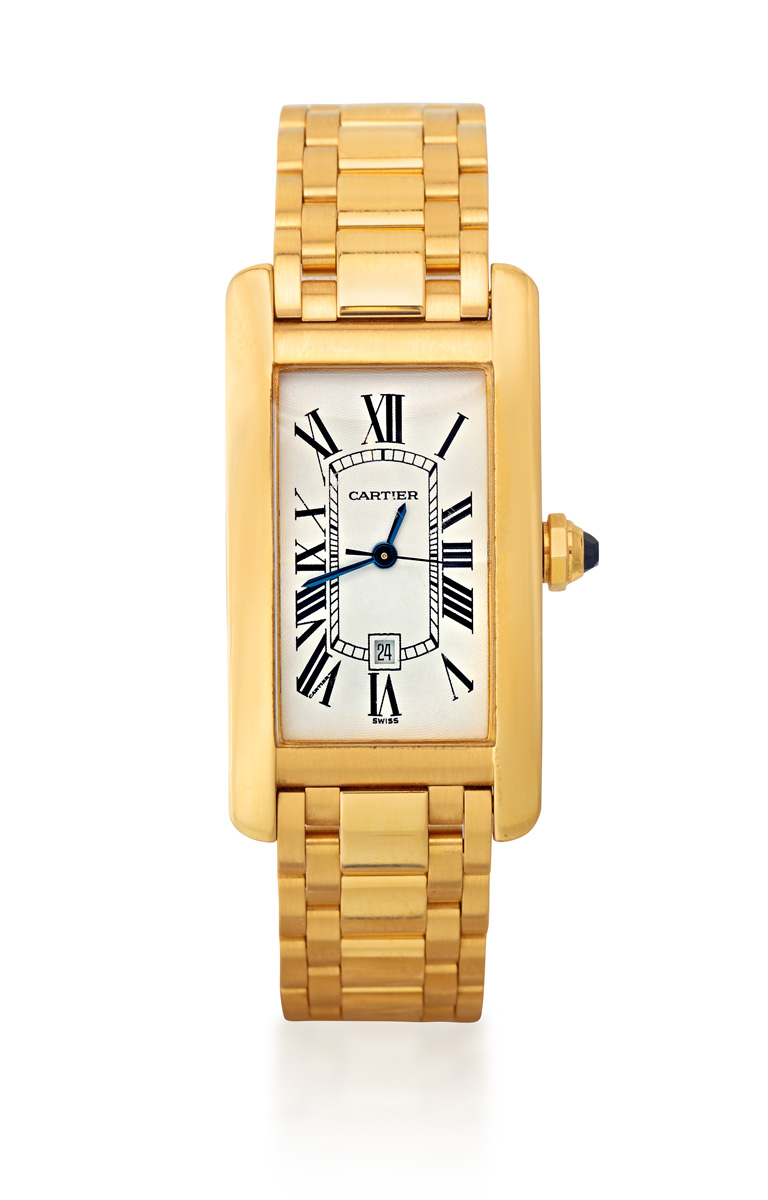 CARTIER TANK AMERICAINE REF 2483 AN 18CT GOLD BRACELET WATCH WITH DATE, CIRCA 2000 - Sotheby's Australia Important Jewels Auction